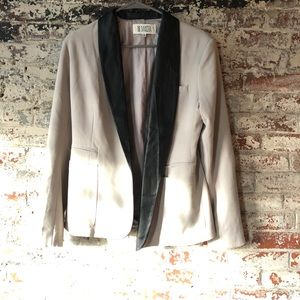 BB Dakota Tan Blazer with Leather Lapels